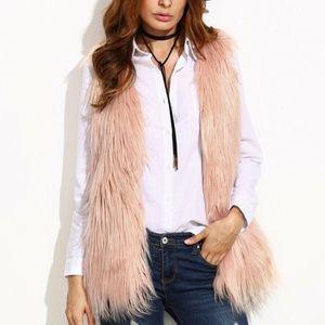 Shein Beige Faux Fur Vest: L